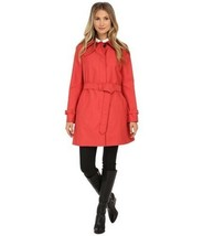 Coach Twill Woven Getaway Trench Coat Red Belted Single Breasted Button Jacket L - $296.01