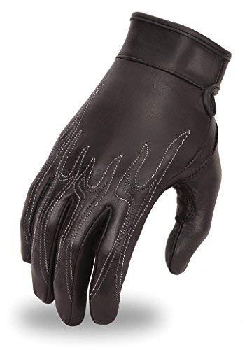 Primary image for Motorcycle women's leather White Flame embroidery blk butter soft leather gloves