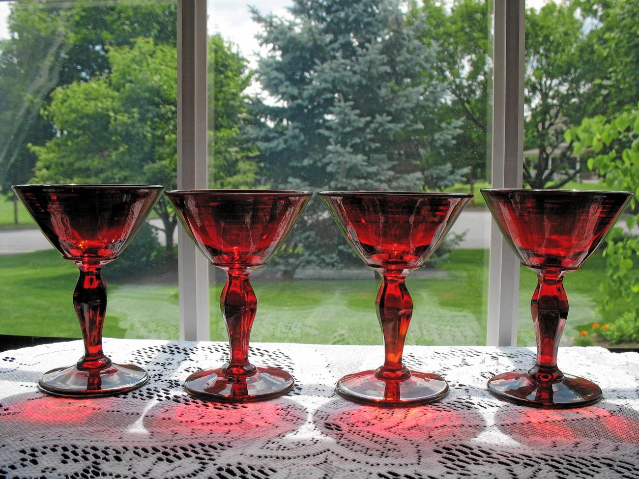 Vintage Ruby Cocktail Stems - 4