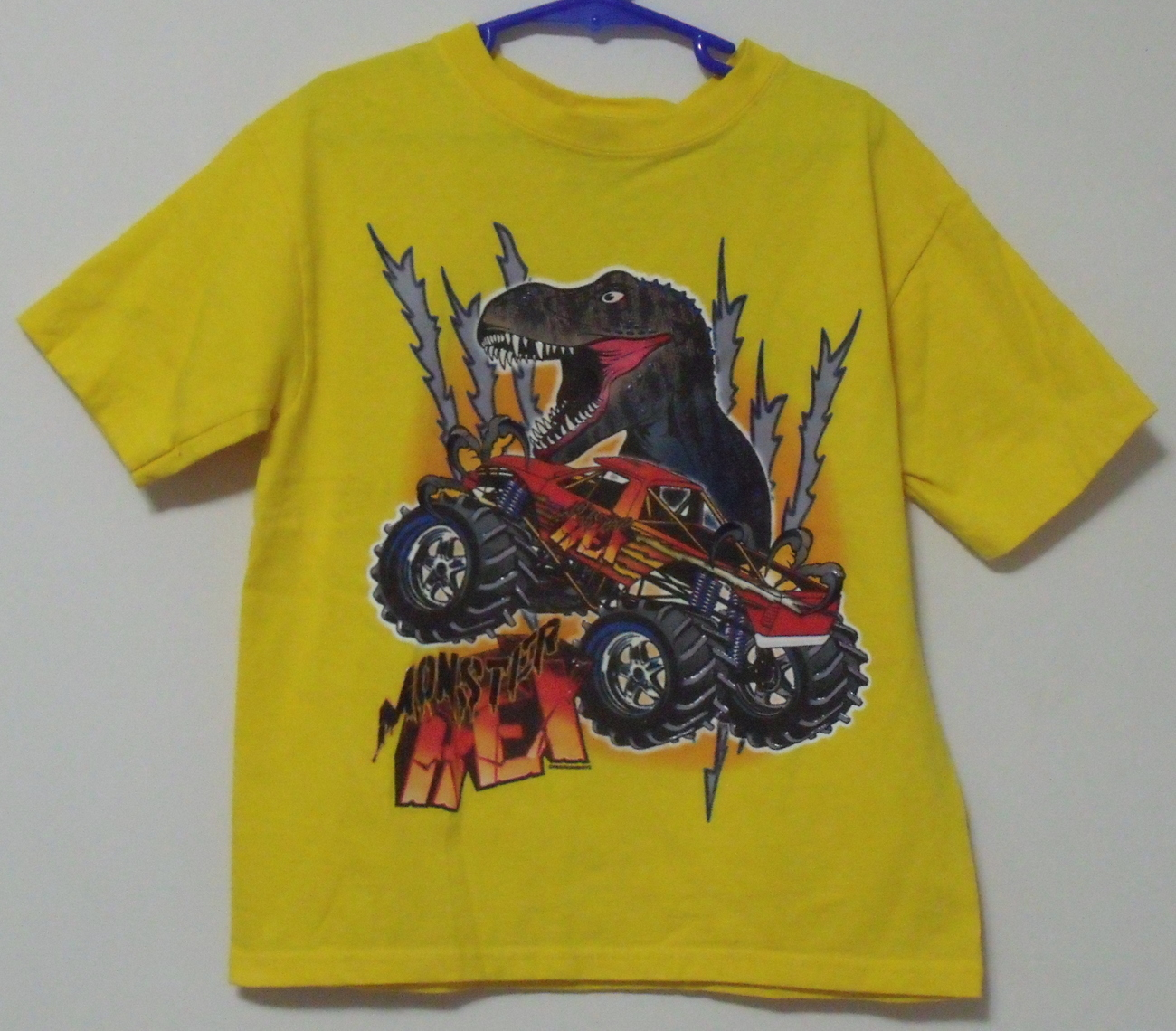 Primary image for Boys Rudeboyz Yellow T Rex Short Sleeve T Shirt Size 7