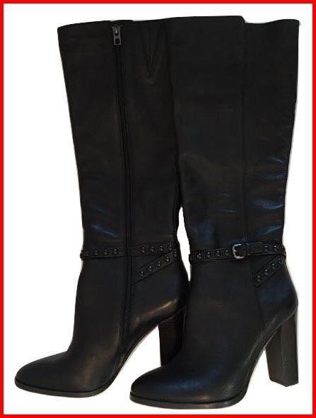 "Coach ""Angela"" Tall Black Studded Strap Boots New 8.5 B"