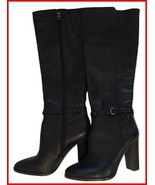 "Coach ""Angela"" Tall Black Studded Strap Boots New 8.5 B - $182.00"