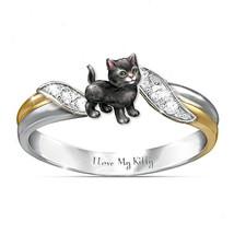 I love my kitty Cat Ring AAA Austria Crystal Children Rings Cartoon Anim... - $15.63