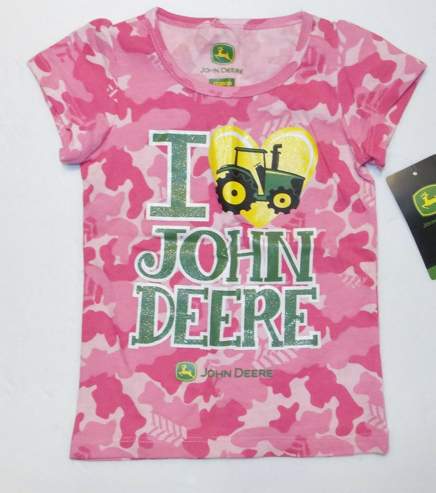 John Deere Toddler Girls Green Daddy or Pink Tractor T-Shirts 2T, 3T or 4T NWT