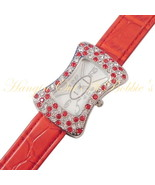 Watch Clear Red Crystal Face Belt Buckle Style Red Band Strap Adjustable - $24.99