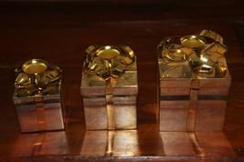 Set of 3 Godinger Silver Plated Gift Box Candleholders - $17.82