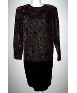 KC Spencer New York Black Velvet Dress Floral Design with Gold Trim Size 8 - $14.99