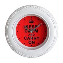 PANDA SUPERSTORE Keep Calm and Carry On Tire Wall Clock Fashion Look Hom... - $37.76
