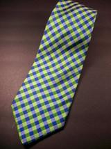 GEOFFREY BEENE  Green/blue  Mini PLAID   Mens 100  SILK  Necktie 8-1027 image 2