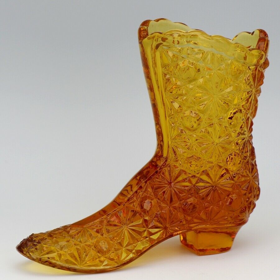 Vintage Fenton Art Glass Colonial Amber Daisy & Button Victorian Boot