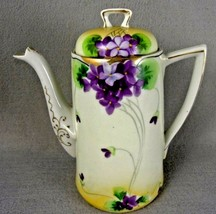 T T Coffee Pot   China  Vintage  Hand Painted Roses Gold Accents - $85.00