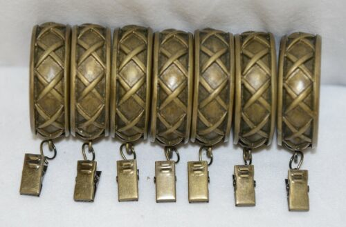 Kirsch 60114787 Antique Gold Cross Pattern Curtain Rings With Removable Clip