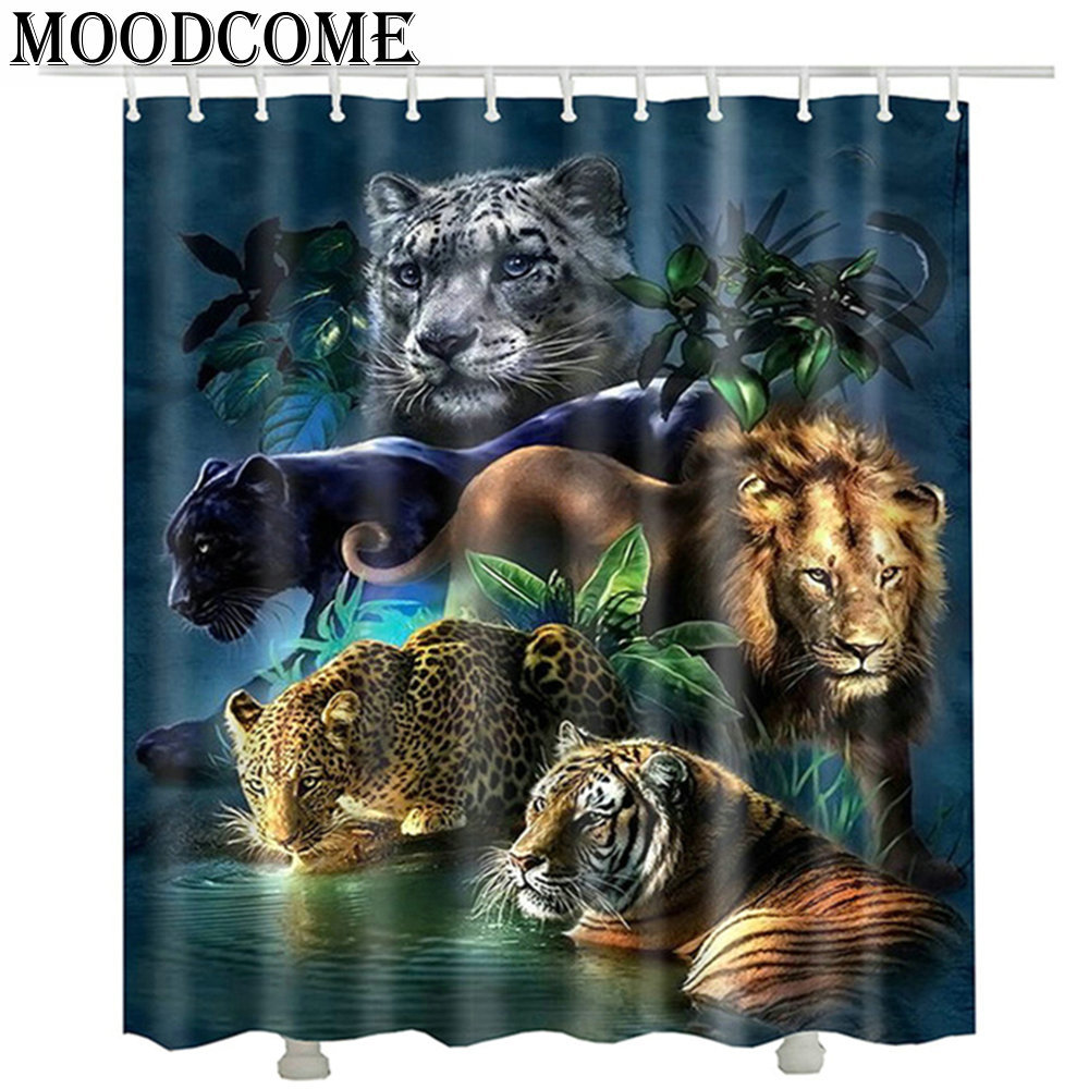 Iger lion leopard printed shower curtains new 2017 fashion waterproof bathroom 3d animal curtain