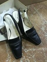 Anne Klein iFlex Women Size 8 1/2 M Black Leather Strap Heels Shoes - $29.70