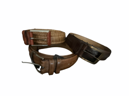 Lot of 3 Men Leather Belt Size 44 Mezlan Tommy Bahama Made in Spain Brown 4929