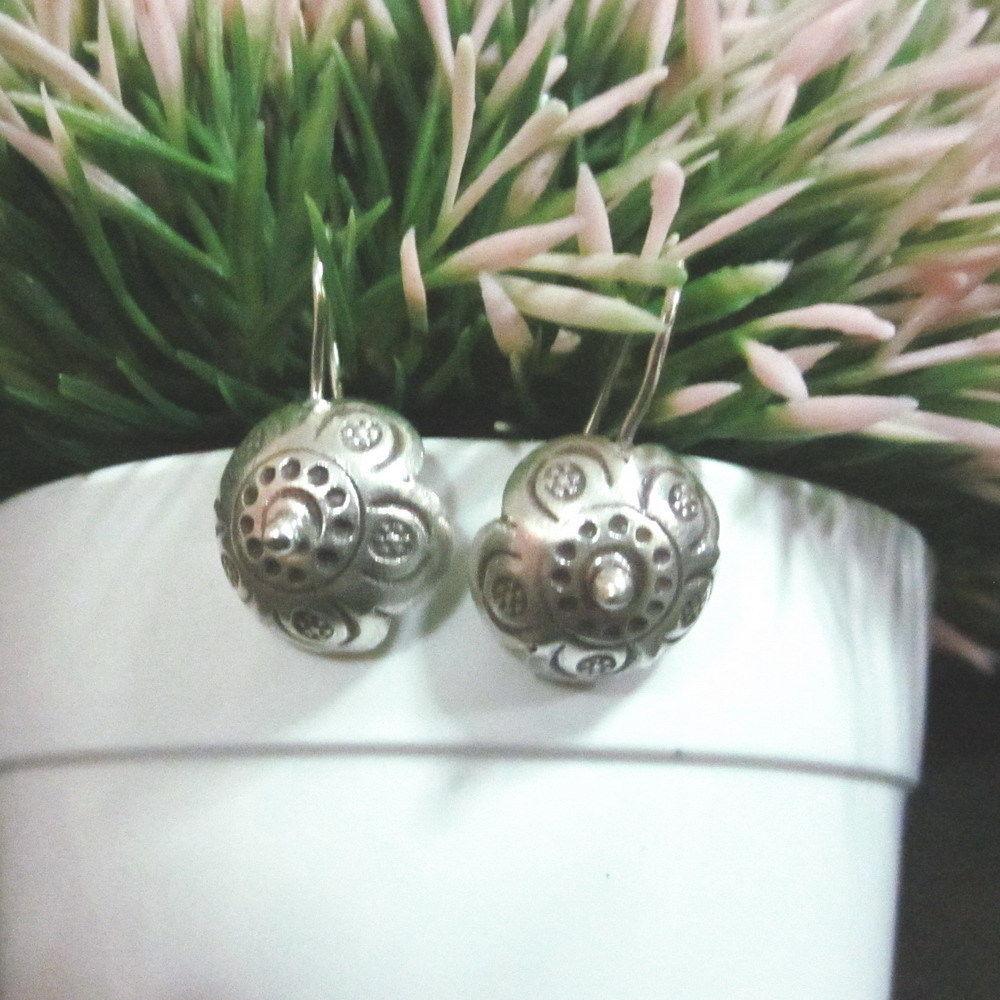 Hill tribe Fine Silver Earrings Thai Jewelry Tribal Dangle Umbrella Top Theme