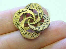 """Antique Victorian Aesthetic Gold Filled GF Love Knot Circle Brooch Pin 1"""" - $39.59"""