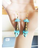 blue turquoise sugar skull earrings long dangles stone bead day of dead ... - $5.99