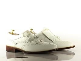 Handmade Men's White Leather Wing Tip Heart Medallions Fringe Dress/Formal Shoes image 4