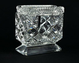 Brilliant Cut Glass Block & Fan Cigarette Holder w Ashtray Lid, ABP? Uni... - $39.20