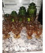 VTG Jamestown Amber Glass Goblet Set - $85.00
