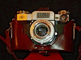 Zeiss Ikon Contaflex Super Camera with hard leather Case AA-192015 Vintage image 1