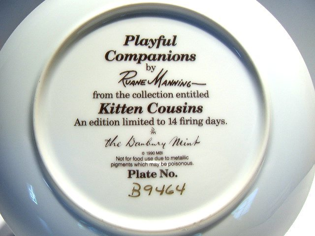 Cat collector plate 'Playful Companions'