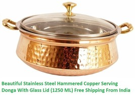 Beautiful Stainless Steel Hammered Copper Serving Donga With Glass Lid (... - £53.27 GBP