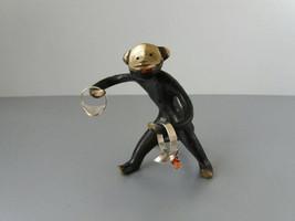 Vintage black bronze monkey figurine Brass ring holder Soviet shelf deco... - $29.00