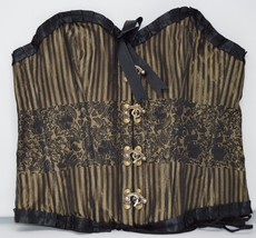 Gold and Black Brocade Corset with Buckles - $69.95