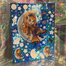 "VINTAGE *JUMBO* 8"" x 11"" Moon Star Girl Hippie Sticker Sheet RARE HTF PRISM"