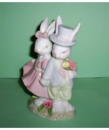 Home Interiors Bunnie Couple Figurine Easter Finery - $19.99