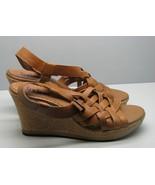 Indigo SHOES by Clarks Tan Leather Woman's 11 M Cork Wedge Heel FANCY - $19.79