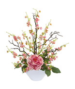 Rose & Cherry Blossom Artificial Arrangement - $74.00