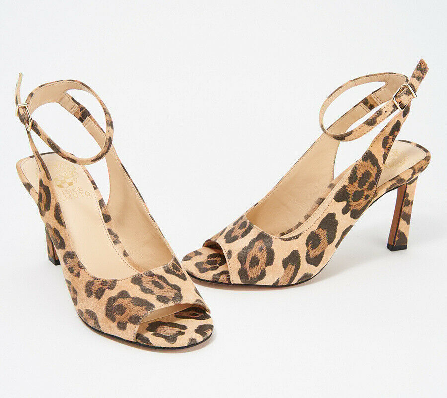 Primary image for Vince Camuto Heeled Peep Toe Sandals - Rateema Natural Leopard 11 M