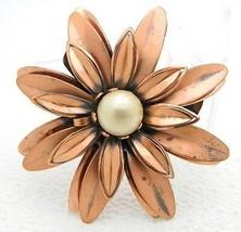 "VTG Matisse RENOIR Signed ""ANEMONE"" Flower Faux Pearl Copper Brooch Pin - $74.25"