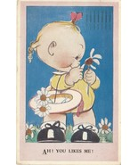1947 Greeting Postcard Baby with Daisies You Likes Me Mabel Atwell Valen... - $10.00