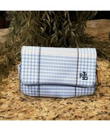 Ralph Lauren Blue White Houndstooth Cosmetic Bag Clutch with Mirror - $29.95