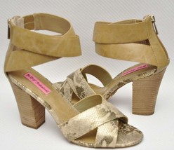 Betsey Johnson Bazar Womens Tan Snake Open Toe Ankle Strap Heel Sandal Shoes - $22.39