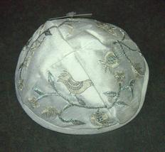 Judaica Kippah White Silver Gold Birds Embroidered Yarmulke Yamaka 22 cm image 4