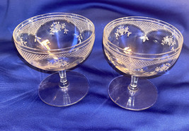 Fostoria Etched Crystal Champagne Coupe Glasses - Crystal Stemware~Toasting - $29.65