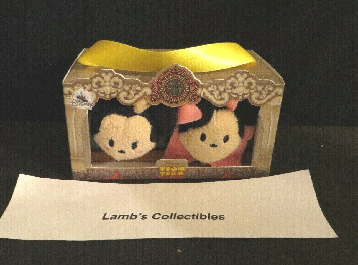 "Primary image for Disney Store Tsum tsum set of two Mickey & Minnie in France box 3.5"" plush toys"