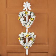 "Daisy 45"" Tall Heart Shaped Double Door Wreath with White Ribbon, White  - $19.73"