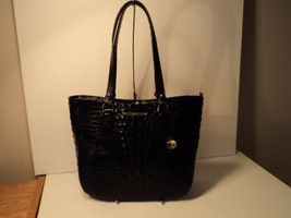 Authentic Brahmin Medium Lena Black Melbourne Embossed Shoulder Bag Leat... - $197.99