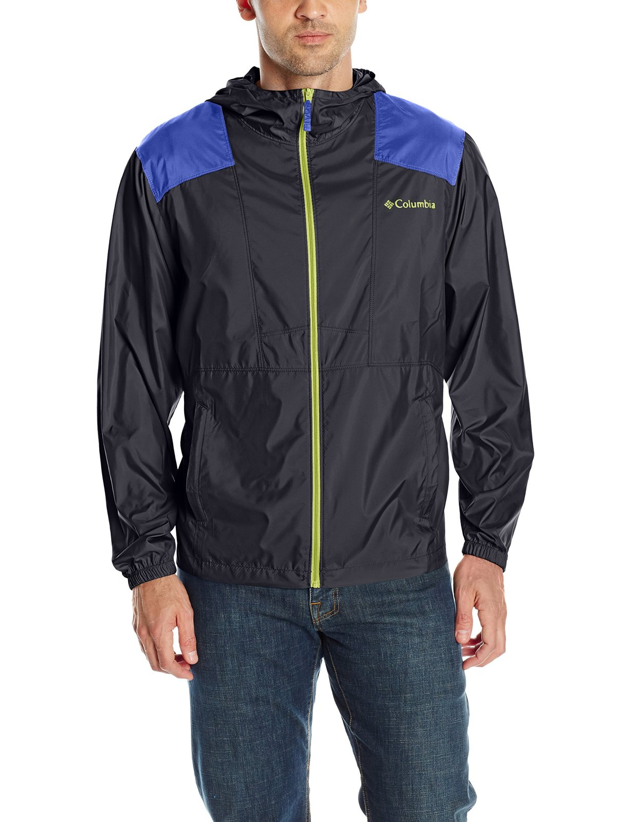 Columbia Men's Flashback Windbreaker, Black, Light Grape, Large
