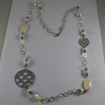 .925 SILVER RHODIUM NECKLACE WITH PURPLE CRYSTALS, WHITE PEARLS, MOTHER OF PEARL image 2
