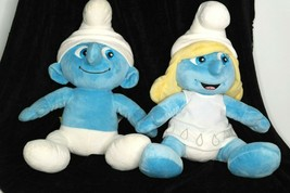 Build a Bear Smurf and Smurfette 2011 The Smurfs Movie Plush Stuffed Set  - $23.01