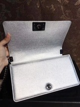 AUTH CHANEL LIMITED EDITION METALLIC SILVER PERFORATED LAMBSKIN MEDIUM BOY BAG  image 5