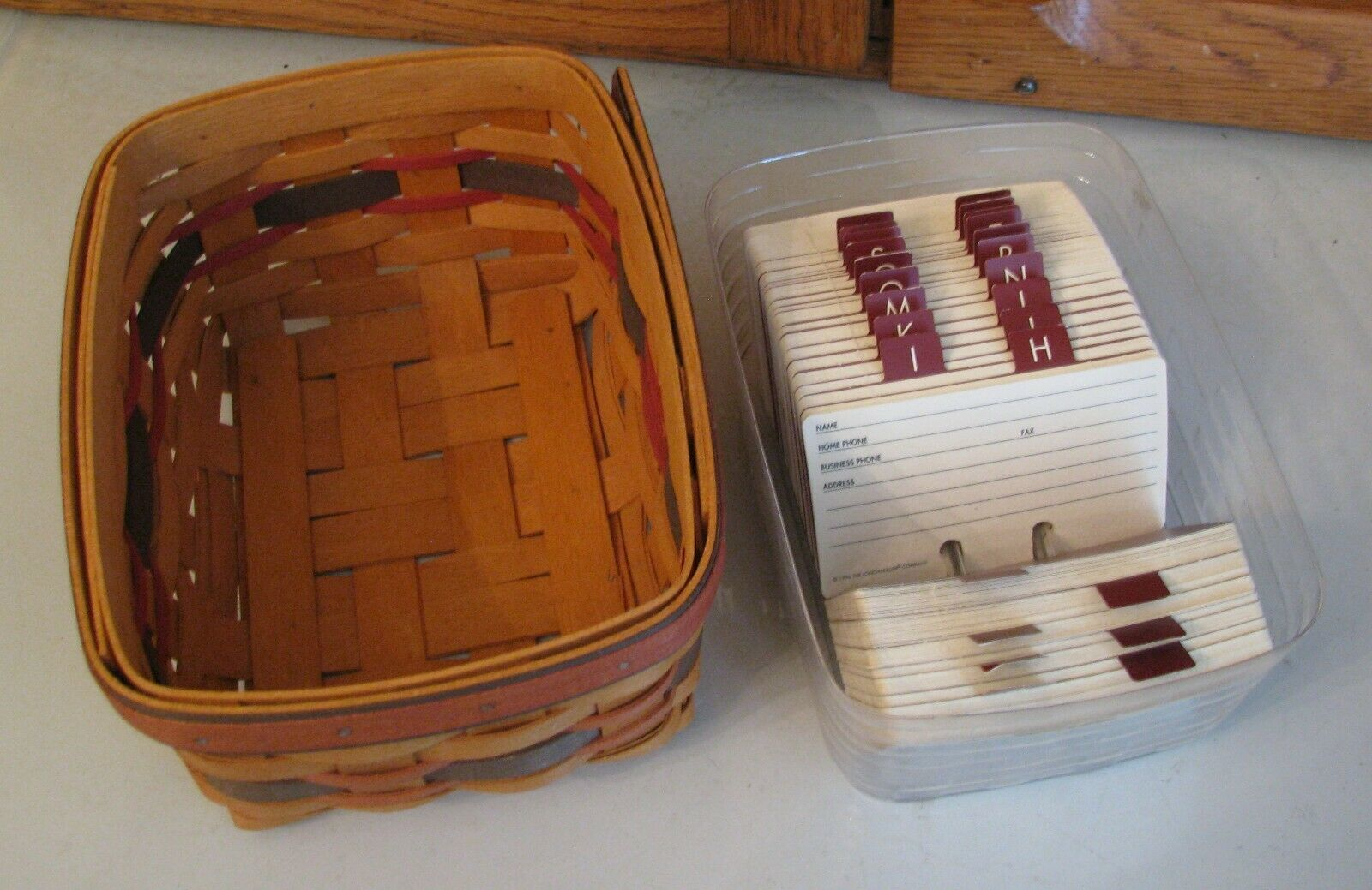 Longaberger Card File Basket Protector Address Cards 1996 Fathers Day A-Z Tabs