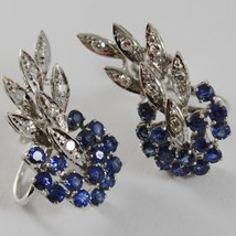 SOLID 18K WHITE GOLD FLOWER, LEAVES SCREW BACK EARRINGS WITH DIAMONDS SAPPHIRES image 2
